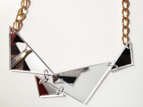 Mirrored acrylic triangles necklace