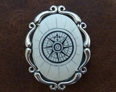 OOAK Scrimshaw compass rose hat pin with sterling silver setting