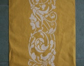 Hand-stenciled Tea Towel - Golden Vines