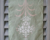 Hand-stenciled Tea Towel - Sage Green Flower