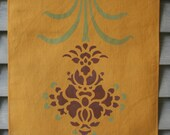Hand-stenciled Tea Towel - Golden Flower
