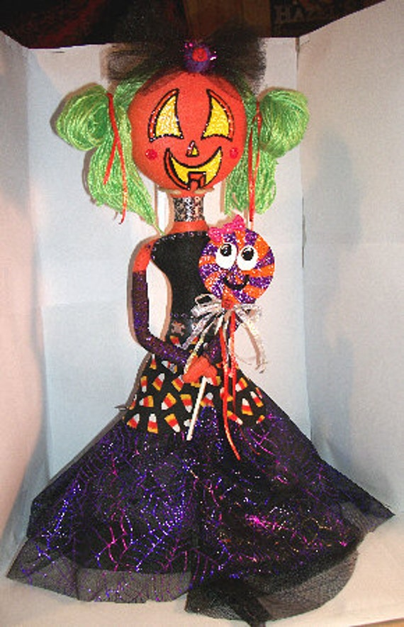 RESERVED for blackrainbow (Jen): Gothic Halloween Jack-o'-Lantern Girl Rag Doll