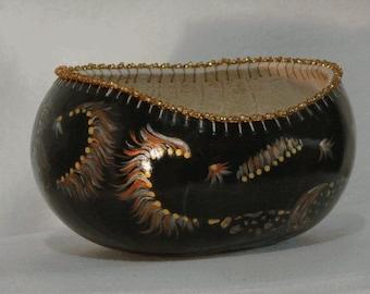 Noir Steeds on a Gourd Bowl