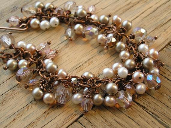 Freshwater Pearl Bracelet, Bead Charm Bracelet, Pink Pearl Bracelet
