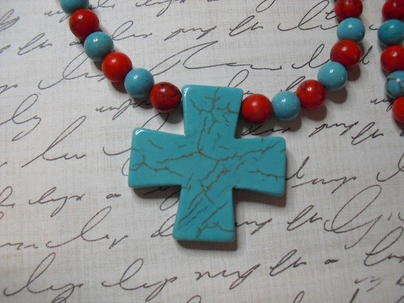 SALE Red and Blue Howlite Necklace Set