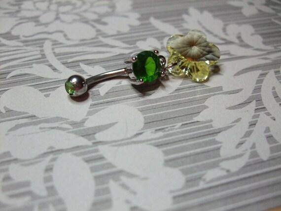 belly button ring emerald green swarovski flower charm