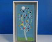 Glass Tree Panel in Handmade Shadow Box Wall Art