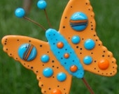 YARD ART Butterfly Garden Stake Oranges and Blues