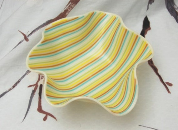 Summery Fused Glass Bowl OCEAN BREEZE Striped with blue brown yellow and green