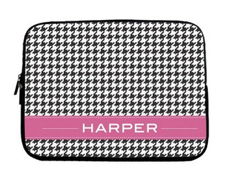 Personalized Ipad/ Laptop Sleeve - Houndstooth Laptop Sleeve - Personalized MacBook Sleeve