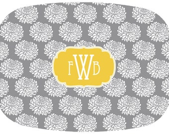 Personalized/ Monogram Melamine Platter- Floral- Choose your own Colors- Engagement/ Wedding Gift