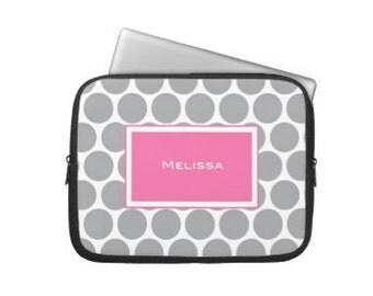 Personalized Laptop Sleeve, iPad Sleeve - Polka Dots Cover with Monogram- MacBook Sleeve