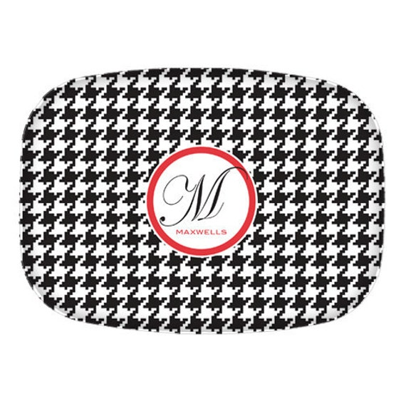 Personalized Platter in Houndstooth Pattern // Alabama Roll Tide Fan Platter // Choose your Colors and Personalize