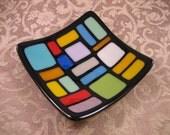 Multicolor Fused Glass Plate