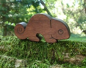 Natural Wood Toy Chameleon, Walnut - all natural wooden teether for baby, or toddler toy