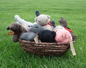Wholesale knit stuffed animals LOT Natural Wool Toys - 12 hand knit toys
