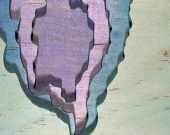 Petrified Forest, Near Teds Wash, Acrylic on Birch Plywood, map art