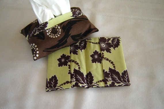 Credit Card Holder and Tissue Cover Set Green and Brown