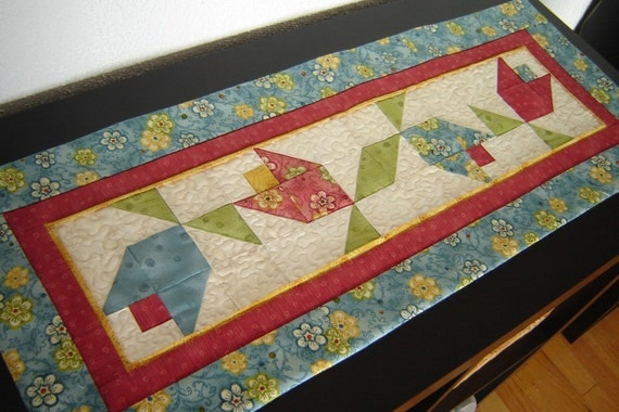 Floral Quilted Table Runner Blue Red Yellow