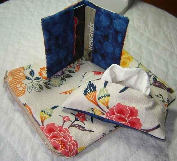 Cotton Cosmetic pouch, credit card wallet, tissue cover Japanese floral