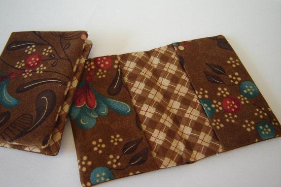 Brown Cotton Business Card Holder Argyle lining (PAIR)