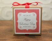 6 Personalized Favor Boxes - Bella Design in Red