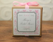 12 Personalized Favor Boxes - Damask Design in Pink - wedding favors, party favors, baby shower favors, bridal shower favors