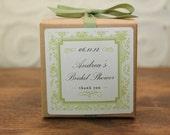 6 Personalized Favor Boxes - Damask Design in Sage - wedding favors, party favors, baby shower favors, bridal shower favors