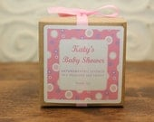 Personalized baby girl shower favors, kids party favors, bat mitzvah favors - 6 Personalized Favor Boxes - Playful Dots Design in Pink