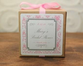 12 Personalized Favor Boxes - Damask Design in Pink - wedding favors, party favors, baby shower favors, bridal shower favors
