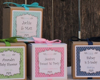 12 Breanne Design Personalized Favor Boxes - ANY COLOR - wedding favors, party favors, baby shower favors, bridal shower favors