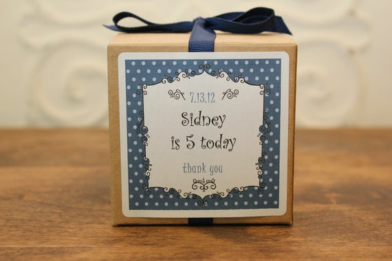 12 Personalized Favor Boxes - Breanne Design in Navy - wedding favors, party favors, baby shower favors, bridal shower favors