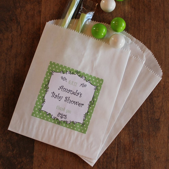 24 Favor Bags with Personalized Label in Breanne Design - ANY COLOR - candy buffet bags, cookie buffet bags, wedding favors, party favors
