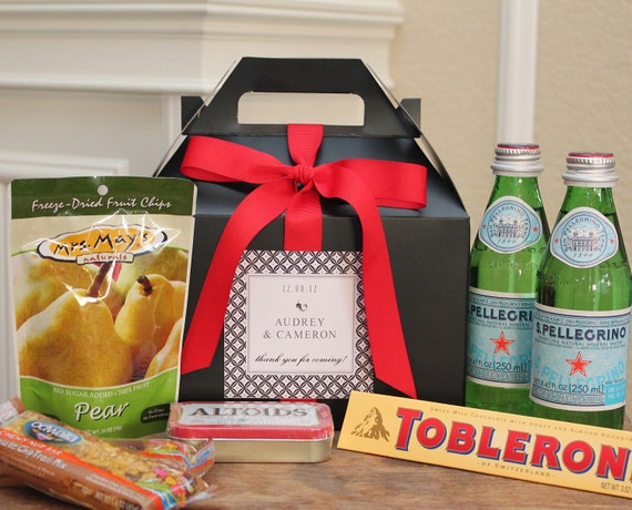 Gift Bags For Weddings For Hotel Guests: Set Of 6 Out Of Town Guest Box // Wedding Welcome Bag