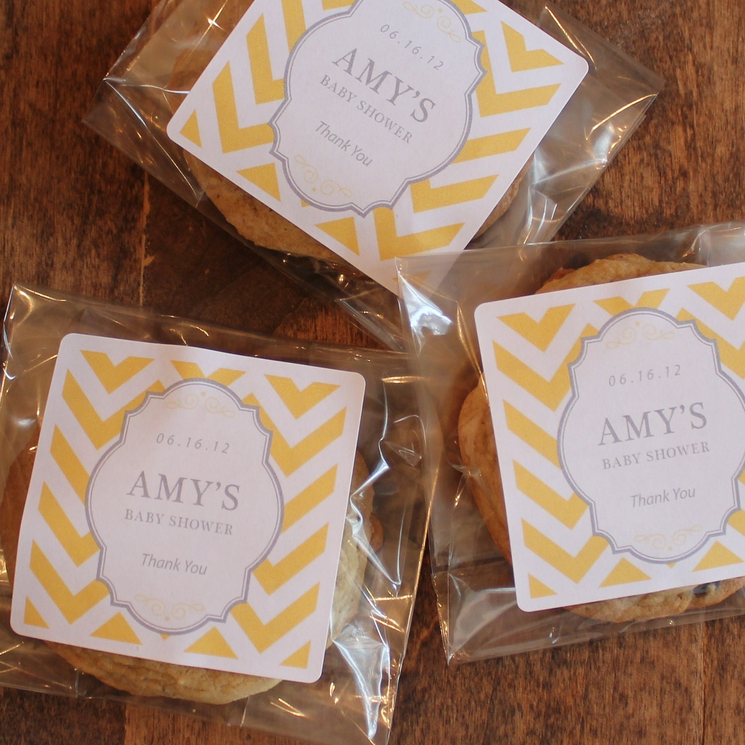 24 Baby Shower Favor Bags with Personalized Chevron Label