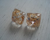 Vintage Clear Etched with Gold Pyramid Glass Cabochons Stud Pierced Earrings