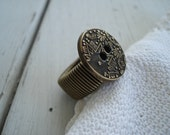 Grab the Brass Ring Vintage Antique  Brass Button Native Inspired Antiqued Gold Ring Stretch Adjustable Band