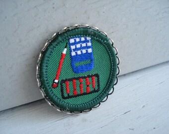 Silver Framed Vintage Girl Scout Badge Math Engineer Miniature Textile Artwork