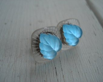 Vintage Antique Lalique Inspired Frosted and Aqua Foiled Luminous Glass Cabochons Stud Pierced Earrings