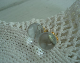 Clear Crystal Glass Globes Vintage Cabochons Stud Pierced Earrings