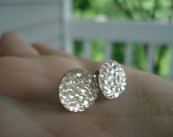Vintage Antique Bubbled Glass Cabochons Stud Pierced Earrings Rhinestones
