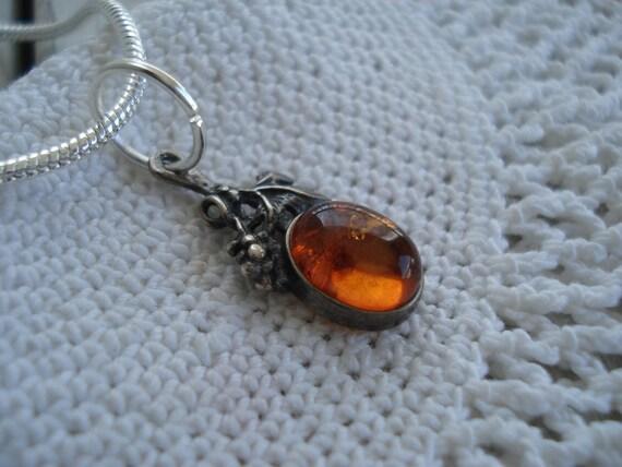 Vintage Silver Amber Topaz Pendant Necklace