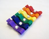 LOVELY - Set of Rainbow Hair Clips - Red, Orange, Yellow, Green, Blue, Purple