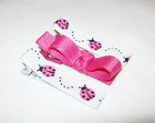 LOVELY - Hot Pink Ladybugs Hair Clips
