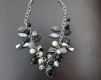 BLACK and WHITE cha cha necklace