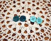 Blue Button Post Earrings