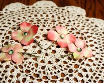 Hydrangea Flower Pins- Set of 4 Bobby Pins
