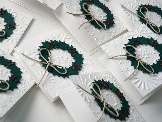Handmade  Mini Christmas Holly Wreaths Cards / Gift Tags - Set of 10