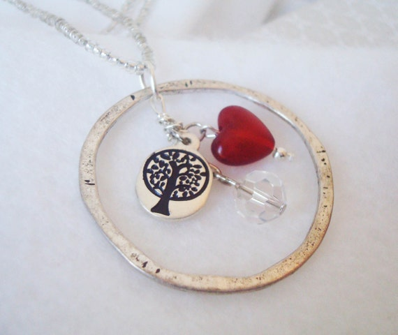 Faith, Hope & Love Circle Pendant Necklace