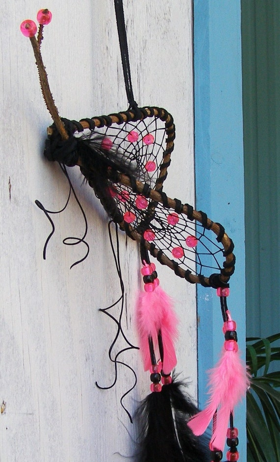 RESERVED FOR RENEE Black & Hot Pink Butterfly Dream Catcher (Sale Price)